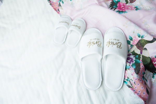 Bridesmaids and Brides matching slippers and dressing gown Barnsley wedding photography