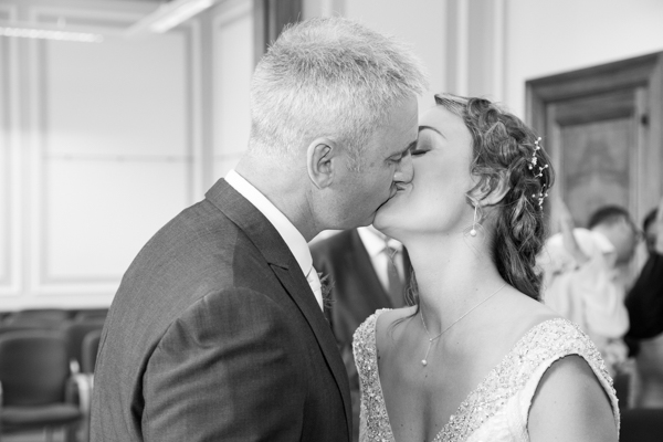 Bride and Groom kissing after their wedding ceremony at Barnsley Town Hall