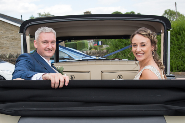 Bride and groom in the wedding car Barnsley wedding photography