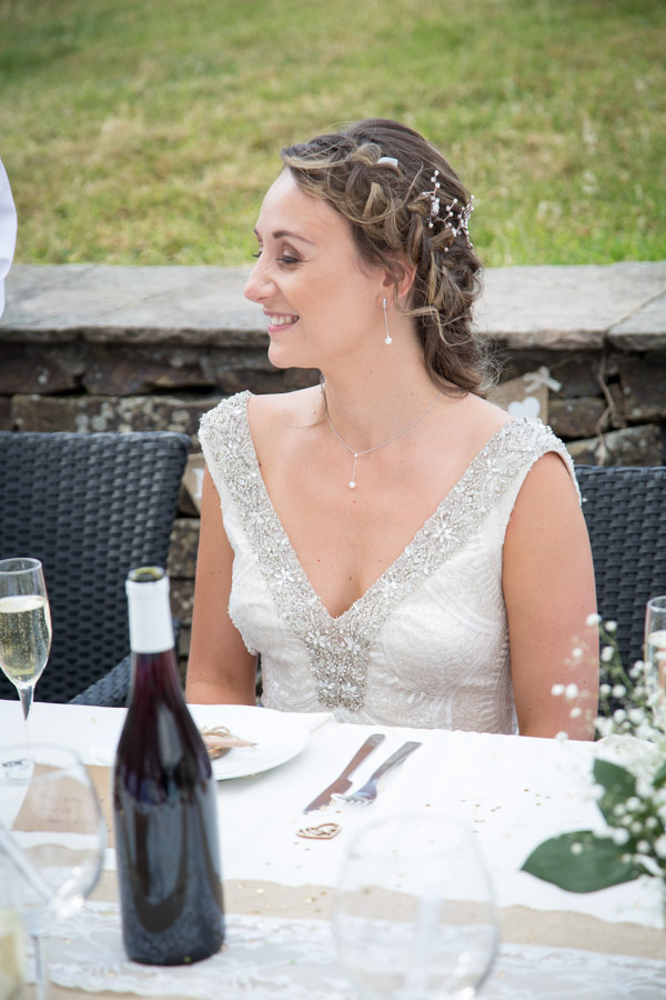 Bride smiling during the speeches at Barnsley wedding