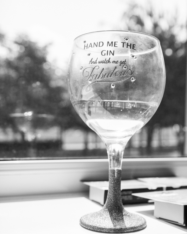 Gin glass in black and white with personalised writing pass me the gin and watch me get fabulous