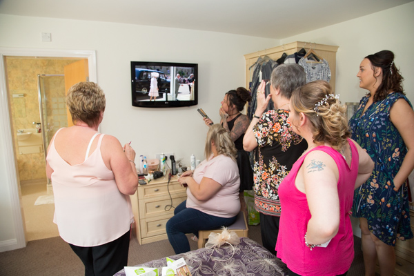 Bridal party watching the Royal Wedding while getting ready at Burntwood hotel wedding