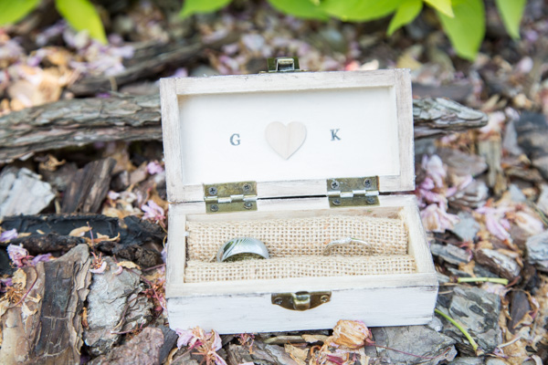 The wedding rings in a personalised box .