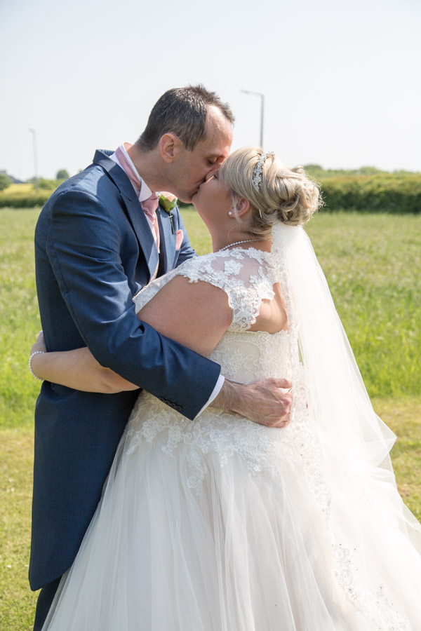 Bride and Groom in the grounds of Burntwood on their wedding day
