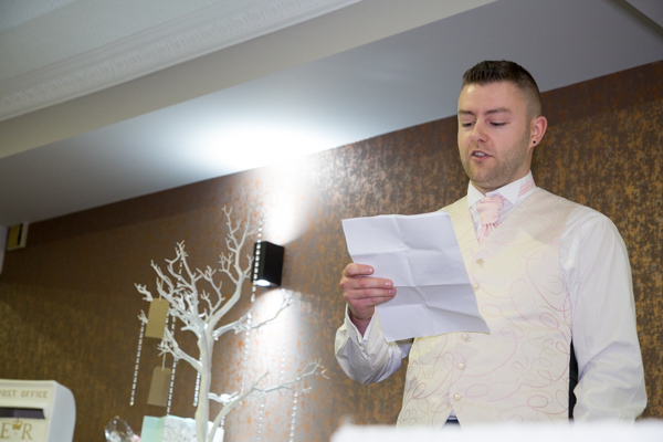 Best man giving speech at Burntwood Court Hotel wedding