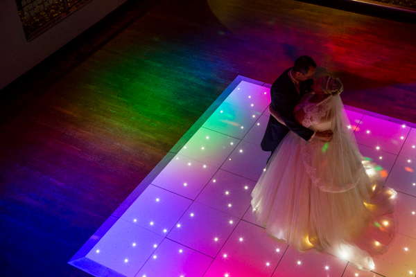 Bride and Groom on the dancefloor at Qube Burntwood Court Hotel