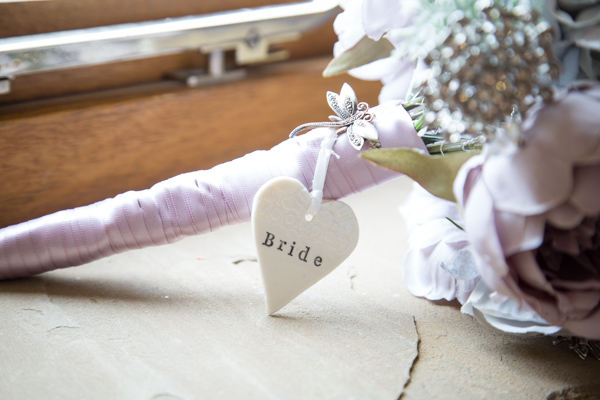 Personalised ceramic on Bridal bouquet