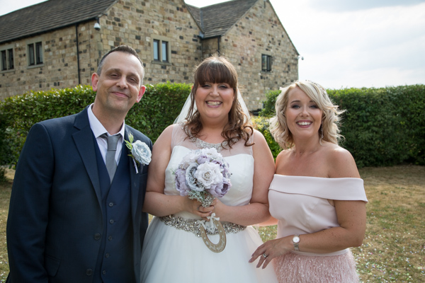 Bride and Groom with Maid of Honor at Tankersley Manor Wedding