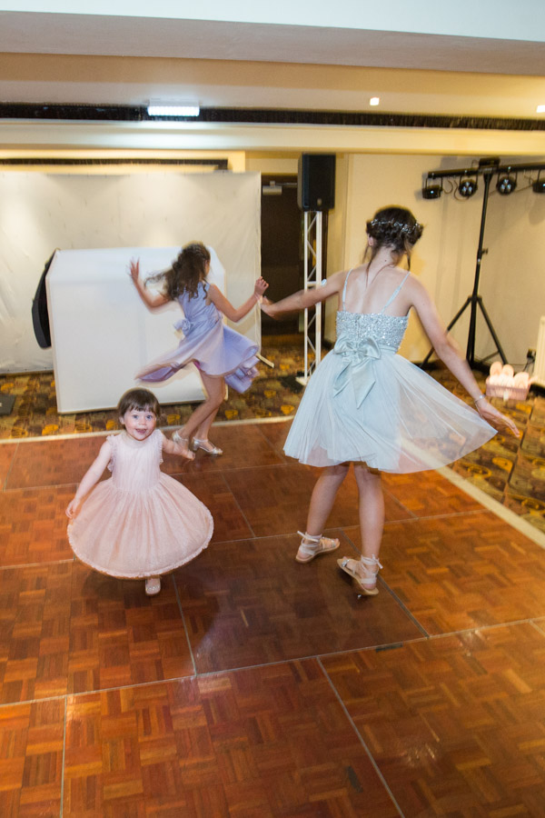 Bridesmaids spinning at Tankersley Manor