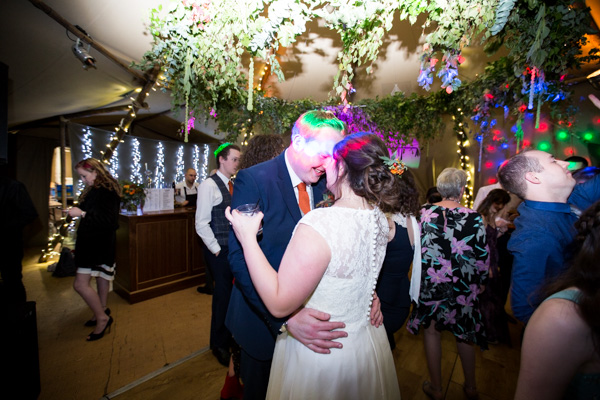 Bride and Groom dancing on the dance floor at Horsleygate Hall wedding
