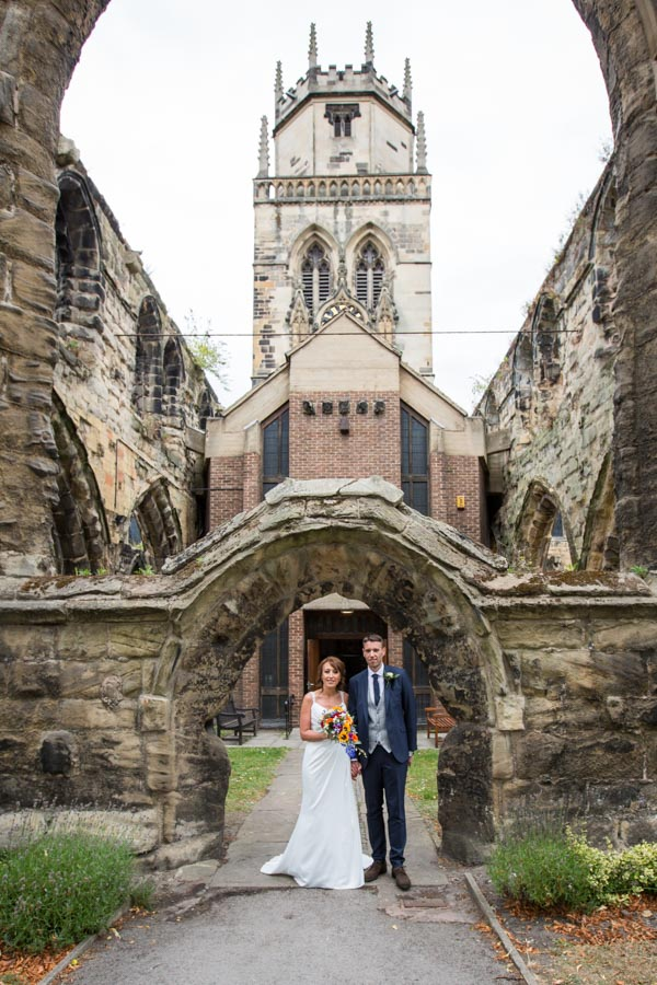 Bride and Groom outside All Saints Church Ackworth on their wedding day