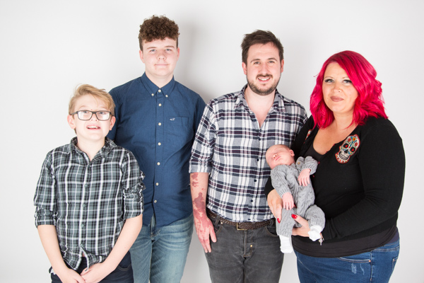 Family Session with older children and a baby at Barnsley Studio