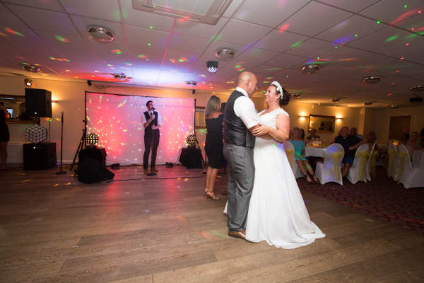 Bride and groom on the dancefloor at SHaw Lane Sports Club Wedding
