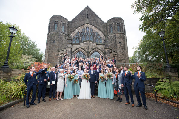 All the wedding guests on the steps of St Andrews Church Psalter Lane Sheffield