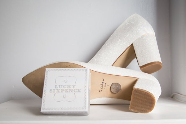 Bridal Shoes with lucky sixpence by rainbow club