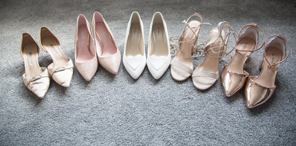 Bridesmaid and Brides shoes in a row