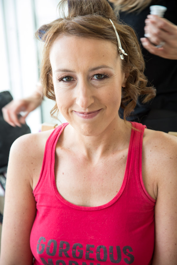 Bride having her hair and makeup done by Sara Lee
