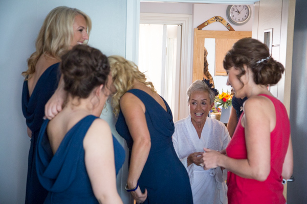 The bridal party getting ready for the wedding