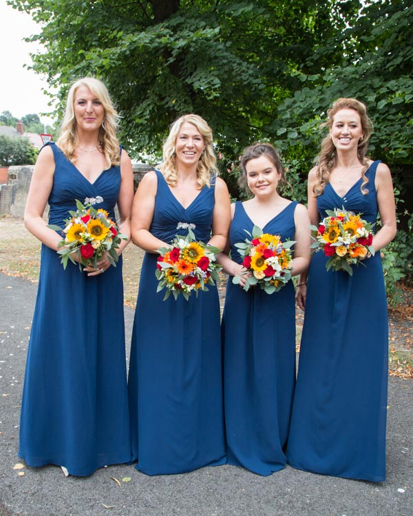 Bridesmaids outside All Saints Church Pontefract