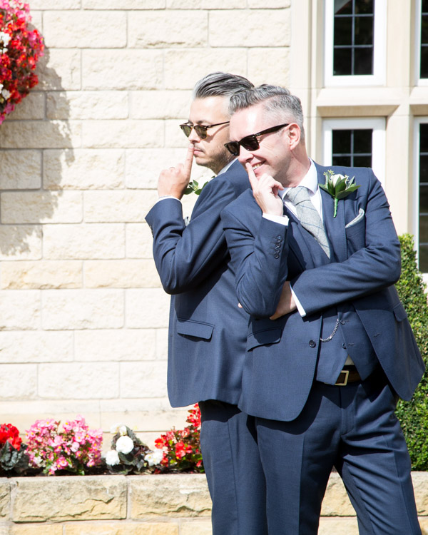 Groomsmen posing at Rogerthorpe Manor Wedding