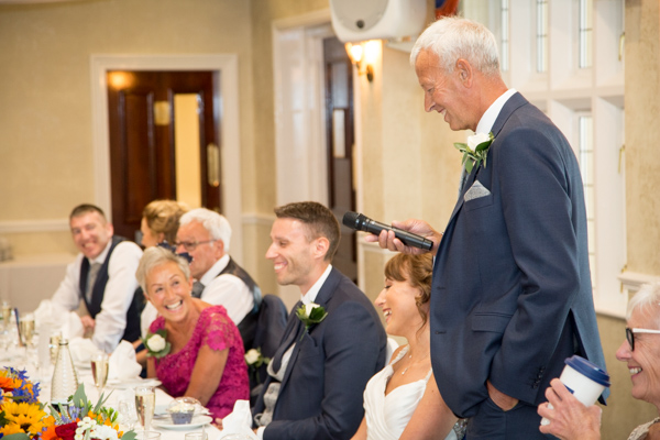 Father of the Bride giving his speech at Rogerthorpe Manor Wedding
