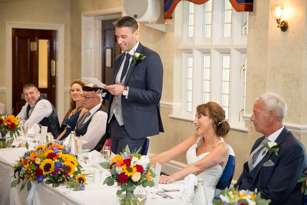 Groom giving his speech at Rogerthorpe Manor Wedding