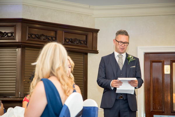 Best man giving a speech at Rogerthorpe Manor Wedding