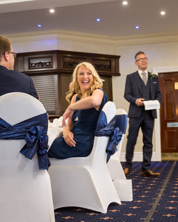 Bridesmaid laughing at Best Man Speech Rogerthorpe Manor Wedding Pontefract
