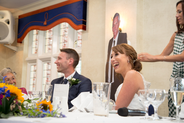 Gary Lineker cardboard cut out being given to the Bride on her wedding day