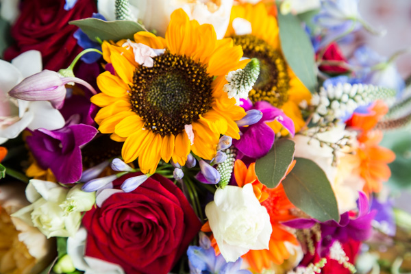 Bridal bouquet with bright colours and sunflowers