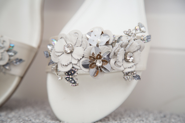Brides shoes with flower and diamante detail