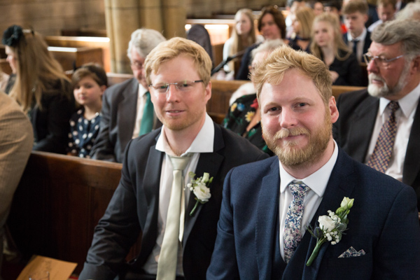 Groom and best man inside Wentworth church before the wedding ceremony