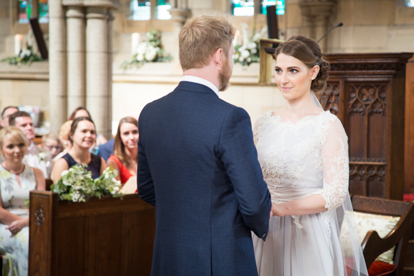 Bride and Groom exchanging vows at Wentworth Church Wedding