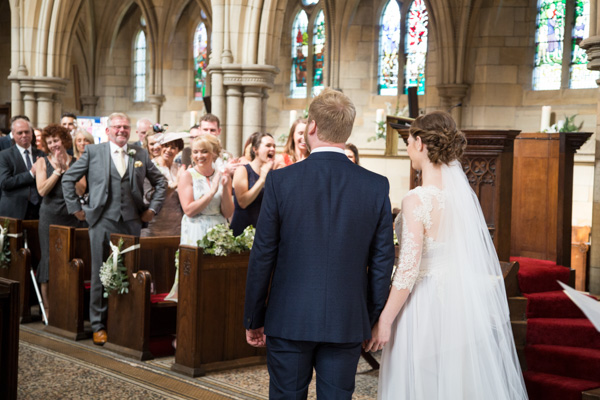 Guests cheering at Wentworth Church Wedding