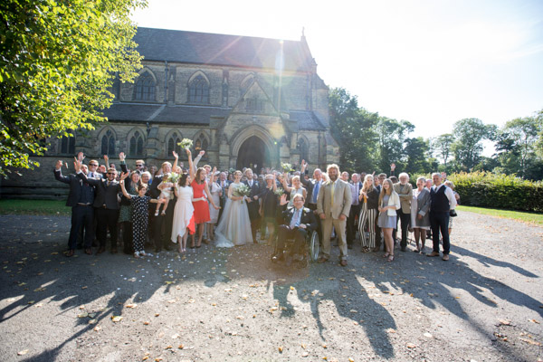 Wedding guests group shot at Wentworth Church Wedding