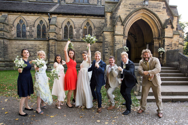Bridal party outside Wentworth Church
