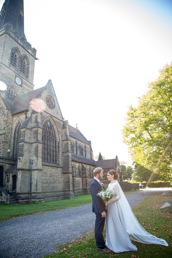 Bride and Groom outside Wentworth Church