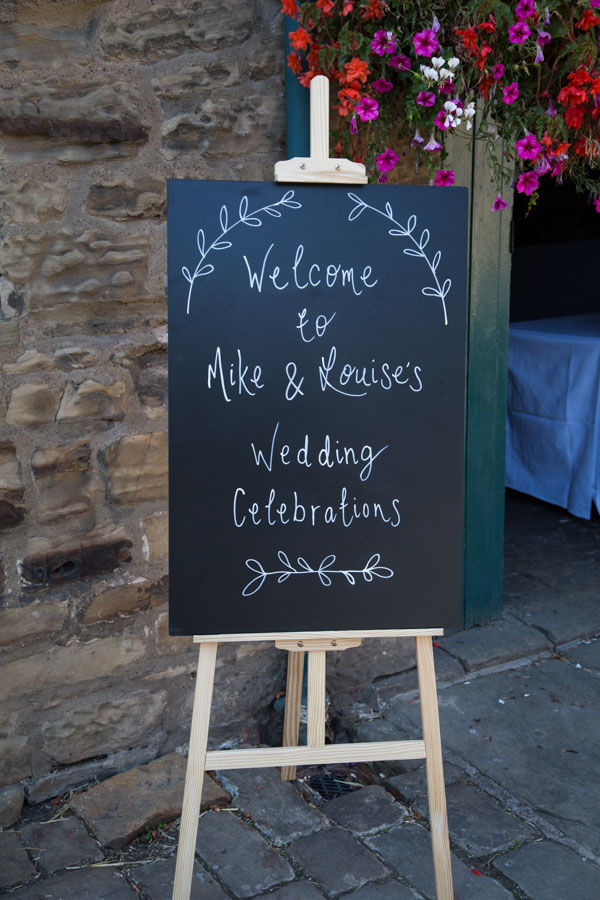 Welcome to the wedding sign on a chalk board at The Rockingham Arms