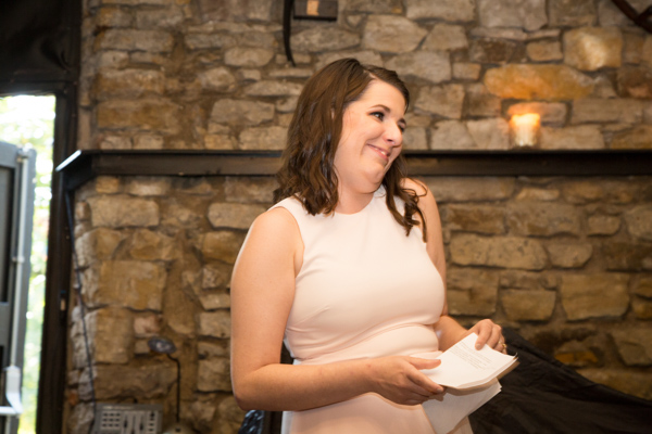 Bridesmaid giving a speech at Rockingham Arms Wedding
