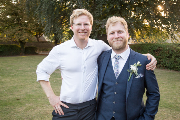 Groom and Best man in the grounds of The Rockingham Arms Wentworth