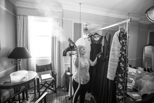 Mother of the bride steaming dresses at Cornhill Castle