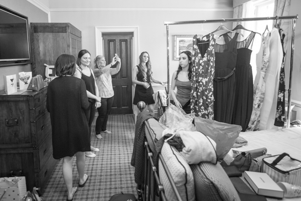 Bridal party getting ready for the wedding at Cornhill Castle
