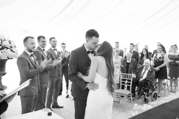 Bride and Grooms first kiss as husband and Wife