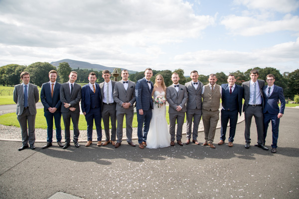 Groomsmen and the bride at Cornhill Castle