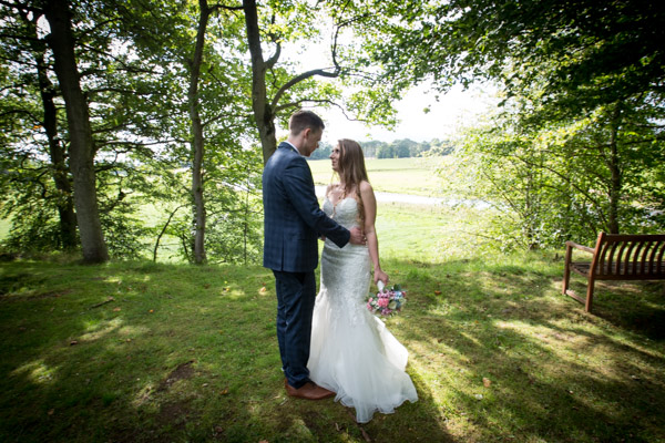 Bride and Groom in the grounds of Cornhill Castle on their wedding day