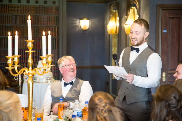 Best man giving a speech at Cornhill Castle