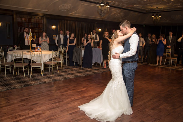 Bride and Groom during their first dance at Cornhill castle wedding