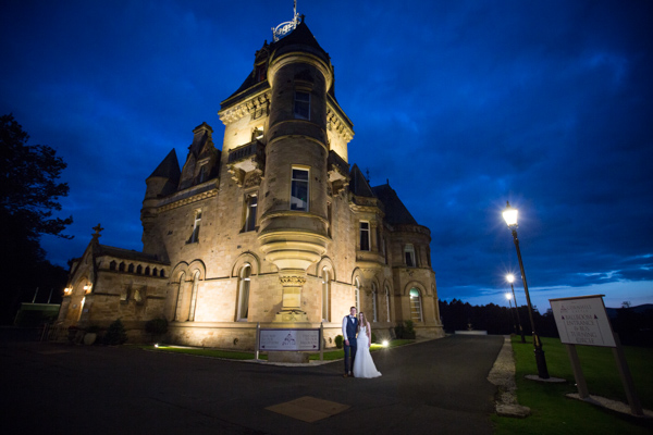 Bride and Groom outside Cornhill castle at night