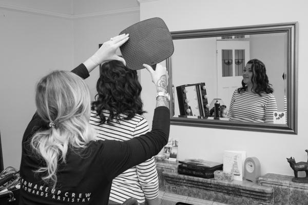 Bridesmaid having her hair done at Sheffield Wedding