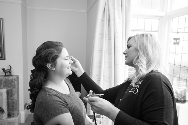 Bride having her makeup done at Sheffield Wedding